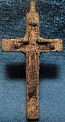 Old Circa 19 cen. CROSS Amulet with JESUS, Christian Pilgrim / Palmer Bronze. 3