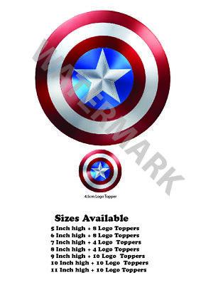 Avengers Logo Badge Wafer Icing Cake Topper