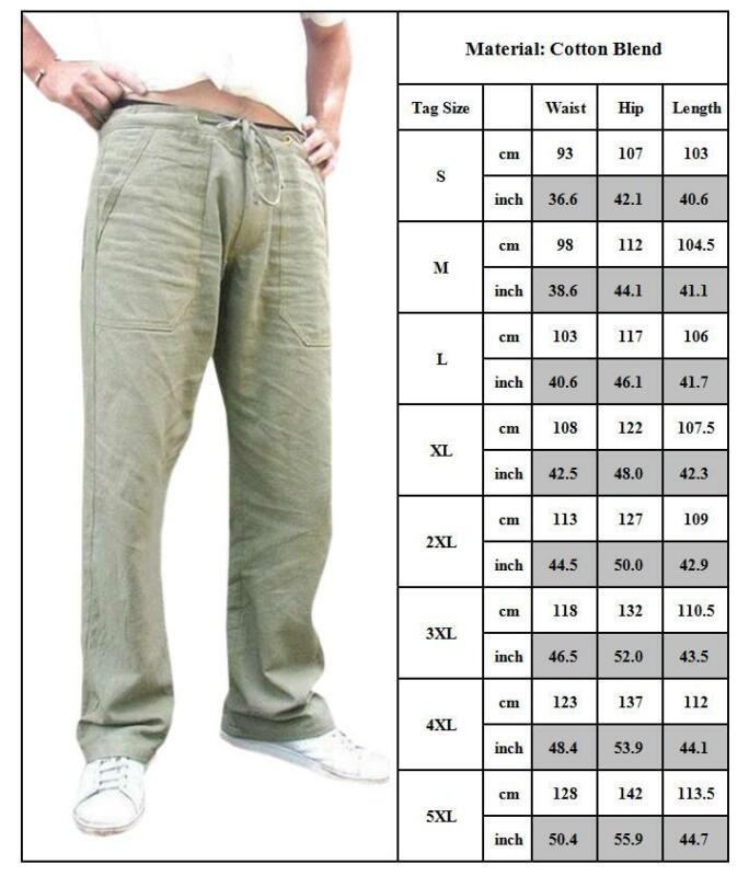 Mens Cotton Linen Loose Pants Summer Casual Beach Drawstring Trousers Slacks UK 3