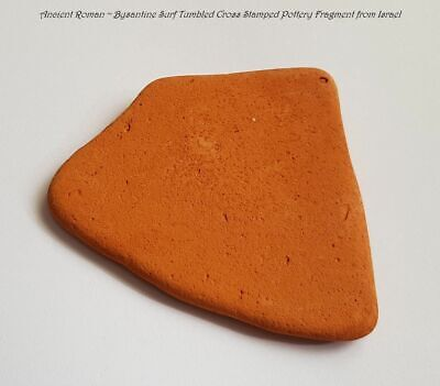 Ancient Roman Bysantine Surf Tumbled Cross Stamped Pottery Fragment from Israel 3