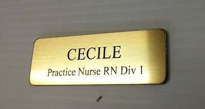 Brushed Gold Name Badge with Text and pin attached Laserable Plastic 70 x 23 mm 3