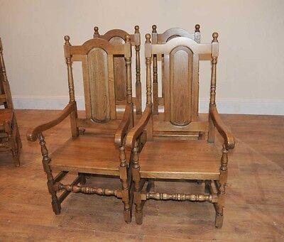 4 Oak Farmhouse William Mary Kitchen Chairs Tudor 5 • £877.50