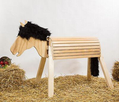 Holzpferd,Voltigierpferd-bew-Kopf,ca.115 cm, unbehandelt, Mähne braun-meliert 2
