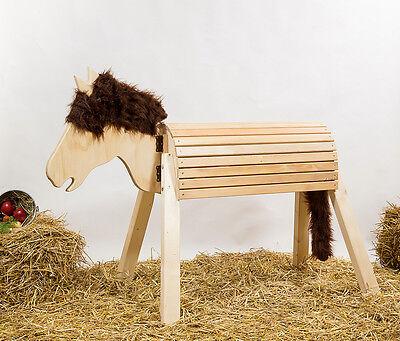 Holzpferd,Voltigierpferd-bew-Kopf,ca.115 cm, unbehandelt, Mähne braun-meliert 3