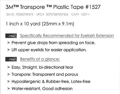 [1''] Transparent 3M Tape Eyelash Extension Clear Medical Breathable