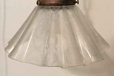 "17"" Long Vintage Antique Pendant Light With Beautiful Pleated Etched Shade 6"