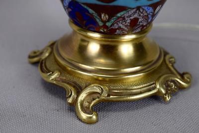 Antique 19th.C French Cloisonne Enamels Lamp Base Working Order ! 10