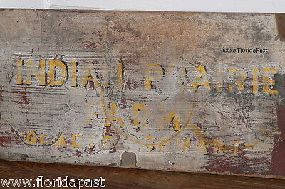 Antique INDIAN PRAIRIE FARM GLADYS COWART Trade Sign Lid Marion County Florida 2