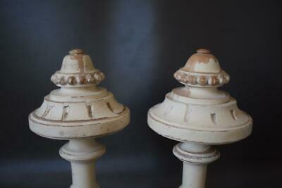 French Gustavian Architectural Pair Curtain Rod White Painted Wood Finial Post 2