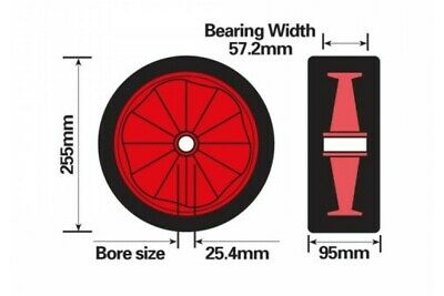 "Dinghy Launch Trolley Red Solid Rubber Wheel Sand Hopper 255Mm 10"" Maypole Mp416 3"