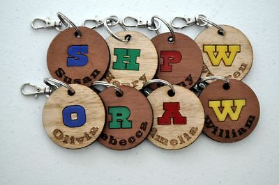 Personalised Childrens Wooden School Bag Tag