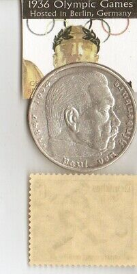 *1896-*greek stamp+*1936-*german Olympic stamp+1936-SILVER EAGLE(.900%,) coin 2