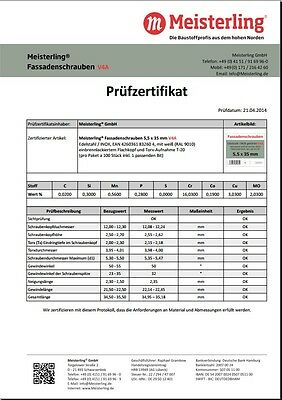 Meisterling® FassadenSchrauben 5,5 x 35 mm V4a Edelstahl Inox gehärtet weiß