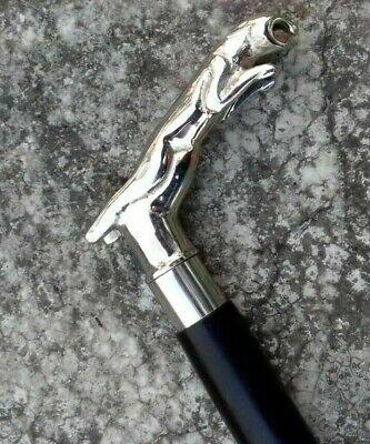 Jaguar Walking Stick Solid Brass Nickle Finish Handle Black Stick Fordable Cane 3