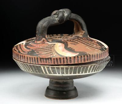 Greek Apulian Pottery Lekanis w/ Heracles Knot Handle Lot 25C