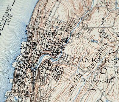 1900 Harlem New York New Jersey New York Vintage USGS Topographic Topo Map 7