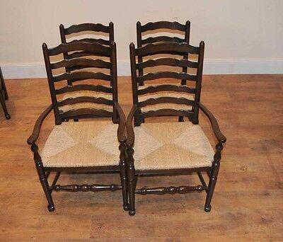 8 Solid Oak Pad Foot Ladderback Kitchen Chairs 11