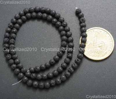 "Natural Black Volcanic Lava Gemstone Round Beads 4mm 6mm 8mm 10mm 12mm 15.5"" 3"