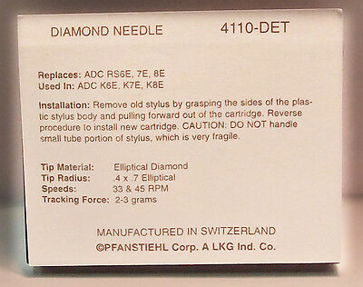 NEW TURNTABLE NEEDLE ADC QLM32//III Mk III RSQ32 RSQ34 RQ36 XLM XLM//III 4110-DET