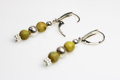 ~MGJ~ Sterling Yellow Turquoise & Bali  Beads Dangle Leverback EARRINGS 4