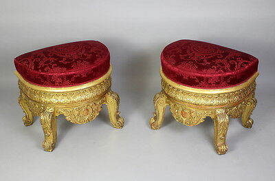 A Pair Of Large & Ornate Carved Gilt Wood Stools 2