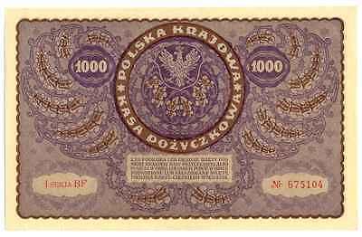 Large size note 1919 Poland 1000 1,000 Marek P-29 A-UNC