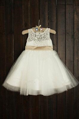 Lace Rosette Keyhole Flower Girl Dress/Communion/Baptism/Junior Bridesmaid Dress 2