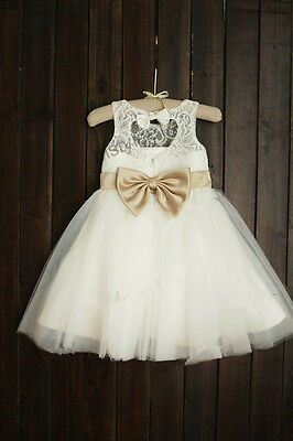Lace Rosette Keyhole Flower Girl Dress/Communion/Baptism/Junior Bridesmaid Dress 6