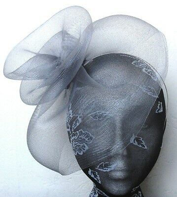 grey feather fascinator millinery burlesque headband wedding hat hair piece 2