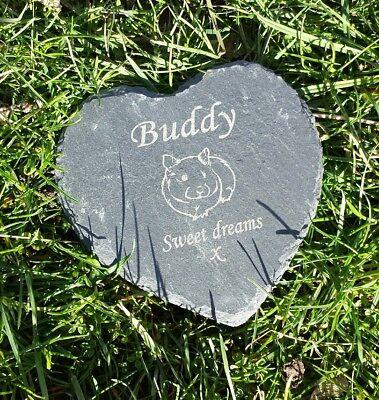 Personalised Engraved Slate Heart hamster Pet Memorial Grave Marker Plaque 2