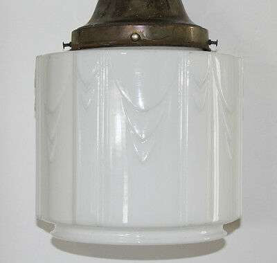 Old French School House Pendant Light Gorgeous Deco Opaline White Glass 2