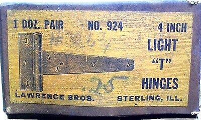 "Nos Vintage Lawrence Bros #924 Steel 4"" Light T Hinges 1 Pair Dm"
