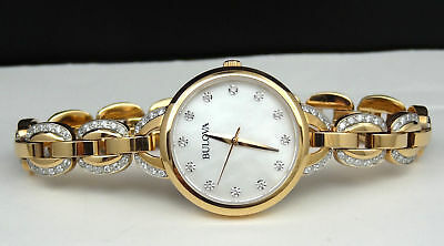 Bulova 98L207 Rose Gold Tone Crystal Mother-of-Pearl Dial Women's Watch 2