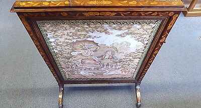 Antique English Inlaid Mahogany Adjustable Firescreen W/French Tapestry.1870 8