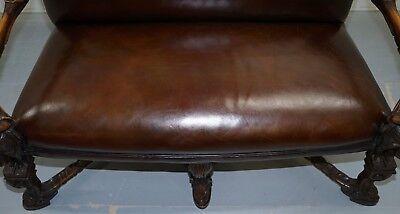 1850 Palatial Venetian Carved Walnut Leather Bench Valentino Panciera Besarel 4