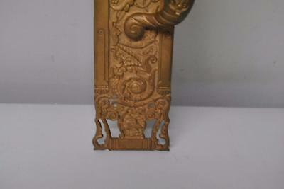 Victorian Antique Brass Entry Door Panel Handle W/ Wolf Head