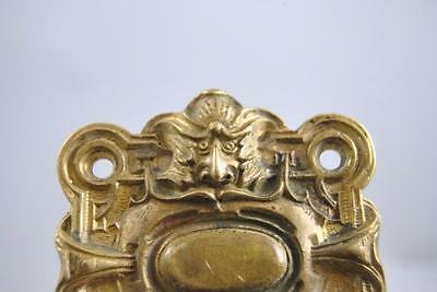 Antique Victorian Cast Brass Door Backplate With Figural Face 3