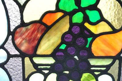 Pair Of American Stained Glass Windows With Fruit Basket Detail, 1910 9