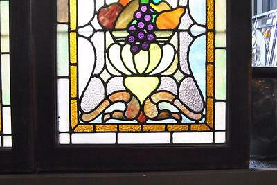 Pair Of American Stained Glass Windows With Fruit Basket Detail, 1910 10