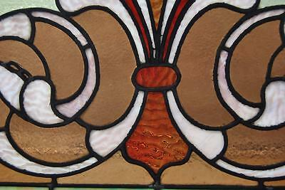 Victorian Stained Glass Fleur De Lis Design Circa 1910 Greens Lilac and Rust 3