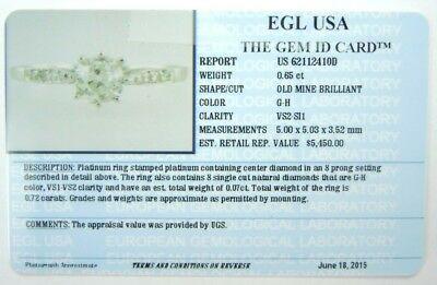 Antique Art Deco Vintage Diamond Engagement Ring Platinum EGL USA Ring Size 6.25 12