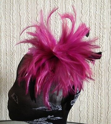 plum pink purple fascinator millinery feather brooch hair clip wedding ascot 3