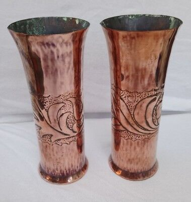 Arts & Crafts pair of Copper vases - believed to be Keswick KSIA 7