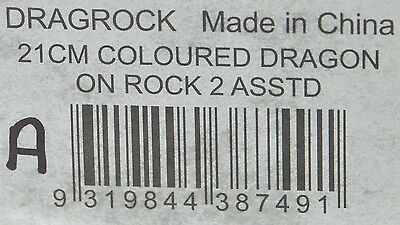 21cm Dragon Figurine w Celtic Cross Gold & Orange DRAGROCK A New 9319844387491