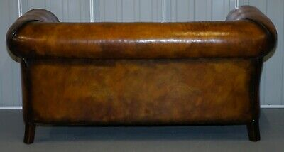 1 Of 2 Restored Victorian Gentleman's Club Chesterfield Leather Sofas Kilim Seat 11