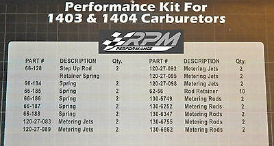 EDELBROCK 1403 1404 CARBURETOR TUNING /& CALIBRATION KIT JETS RODS SPRINGS