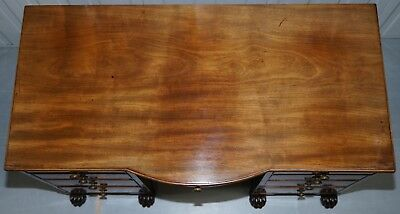 Exquisite Regency Period 1815 Mahogany Kneehole Desk With Lion Hairy Paw Feet 4