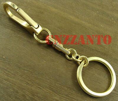 Handmade totally Brass key chain ring swivel eye snap clasps hook clip H400