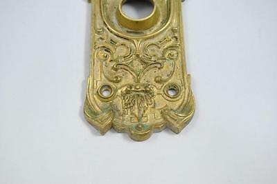 Antique Victorian Cast Brass Door Backplate With Figural Face 2