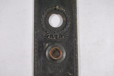 Antique Victorian Brass Wreath Detail Entry Door Plate 4